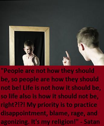 Satan chastising mirror