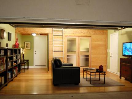 garage remodeled for sleeping with a loft