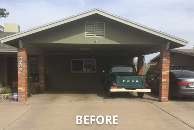 This carport was converted to an enclosed 2-car garage.