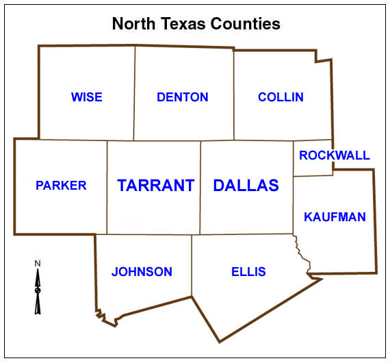 10 counties of DFW metro area of Texas: COLLIN DALLAS DENTON ELLIS JOHNSON KAUFMAN PARKER ROCKWALL TARRANT WISE