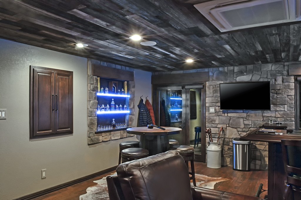 garage converted to home entertainment lounge